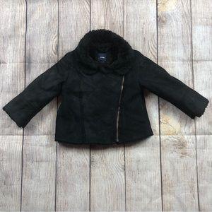Baby Gap Girl Black Faux Suede and Fur Coat Jacket
